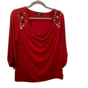 AGB Women Cowl Neck Rutched Sleeve Drape Blouse